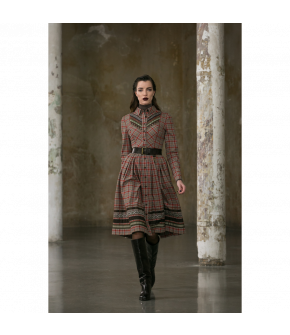 Liane Dress Herbstlaub in red and cream by Lena Hoschek Tradition - AW21/22 autumn/winter collection