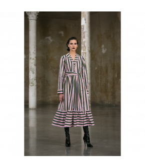 Stay in Bed Dress pillow talk in green and pink stripes by Lena Hoschek - AW21/22 autumn/winter collection - Biedermeier