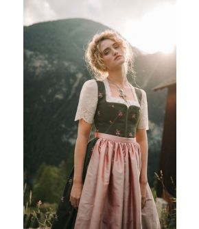 "Embroidered Dirndl ""Waldlicht"" in dark green with gathered silk apron from Lena Hoschek Tradition"