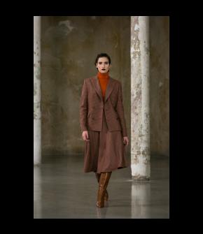 Philander Skirt old vienna in orange and red plaid  by Lena Hoschek - AW21/22 autumn/winter collection - Biedermeier