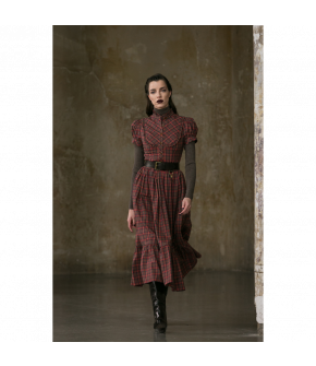 Susi Dress Erntedankfest in red and green plaid by Lena Hoschek Tradition - AW21/22 autumn/winter collection