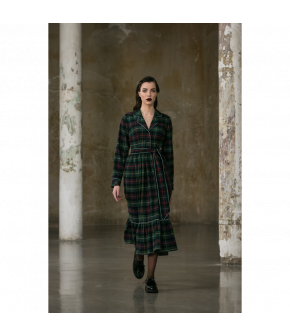 Stay in Bed Dress flannel in green plaid by Lena Hoschek - AW21/22 autumn/winter collection - Biedermeier