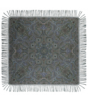 "140x140cm woolen shawl ""Hawelka"" in delicate blue and green from Lena Hoschek - Artisan Partisan - Autumn/winter collection AW20/21"