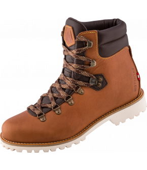 A sturdy shaft and collar made of full leather with eyelets in retro look. In the style of traditional mountain boots, but with leather collar and feminine in the execution. Alma will be available in two noble shades of brown.