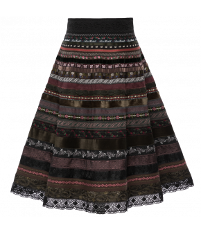 "Lena Hoschek ribbon skirt with shades of brown and green ""Heather"""