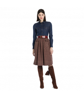 "Checked skirt with patch pockets and topstitching by Lena Hoschek ""Western Skirt"""