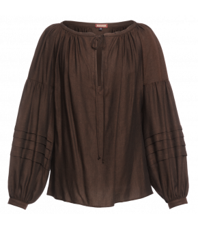 Lena Hoschek Blouse Banu in Brown - Artisan Partisan - Autumn/winter collection AW20/21