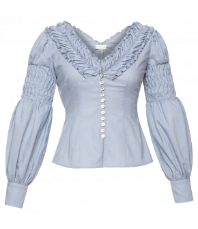 """Bonbonnière"" blouse in blue by Lena Hoschek - SS21 summer collection - Antoinette's Garden"