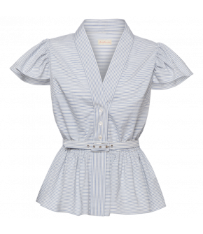 """Charlotte blouse denim stripes"" in blue and white by Lena Hoschek - summer collection SS21 - Antoinette's Garden"
