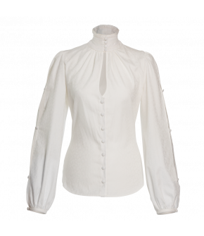 "White high-necked ""Edeltraut"" blouse from Lena Hoschek - Lena Hoschek Tradition - Autumn/Winter 20-21"