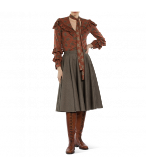 """Casual patterned """"Fortune Teller blouse"""" in terracotta with flounces from Lena Hoschek - Artisan Partisan - Autumn/winter collection AW20/21"""