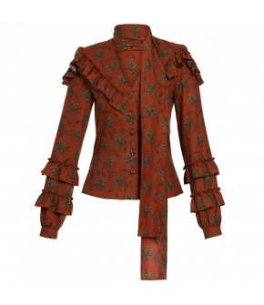"Casual patterned ""Fortune Teller blouse"" in terracotta with flounces from Lena Hoschek - Artisan Partisan - Autumn/winter collection AW20/21"