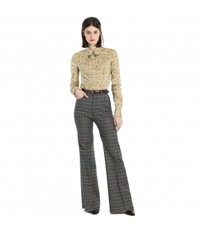 "Grey checked bell-bottomed pants by Lena Hoschek ""Hustler Pants check"""