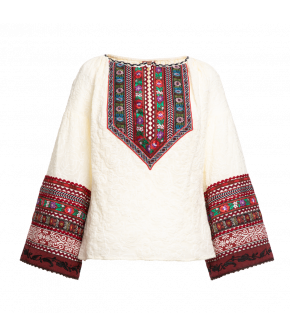 "White ""Janka"" blouse from Lena Hoschek with decorative ribbons and trumpet sleeves"