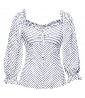 "Blue and white striped ""Poésie blouse bleu"" by Lena Hoschek - SS21 summer collection - Antoinette's Garden"