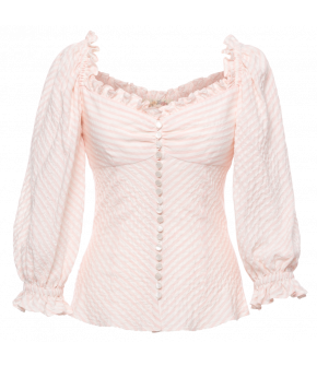 """Poésie blouse bonbon"" in pink and white by Lena Hoschek - SS21 summer collection - Antoinette's Garden"