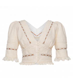 "Cream-coloured blouse ""Praliné"" by Lena Hoschek - SS21 summer collection - Antoinette's Garden"