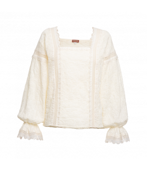 "Embroidered white blouse ""Sultana"" from Lena Hoschek with lace ribbons and square neckline"