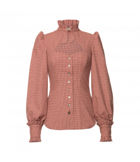 Clara Blouse Abendrot in red and white plaid by Lena Hoschek Tradition - AW21/22 autumn/winter collection