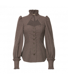 Clara Blouse Dämmerung in grey and pink plaid by Lena Hoschek Tradition - AW21/22 autumn/winter collection