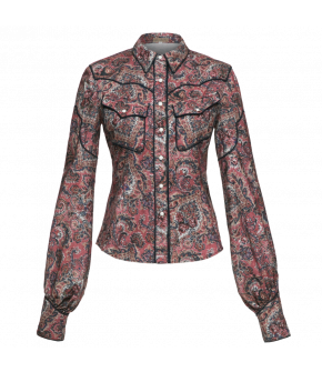 Longsleeved paisley pattern blouse featuring voluminous sleeves with cuffs and Westernstyle piped details in contrasting black. The collar has detachable metal collar tips. Fully buttoned front and sleeve cuffs with press-stud fastening.