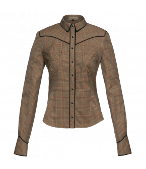 Longsleeved glen check blouse with Westerninspired styling elements like shirt pockets, decorative top stitching and contrasting piped details. Fully buttoned front and sleeve cuffs.
