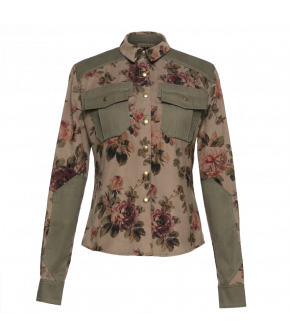 "Roseprint blouse with contrasting inserts by Lena Hoschek ""Officer Blouse"""