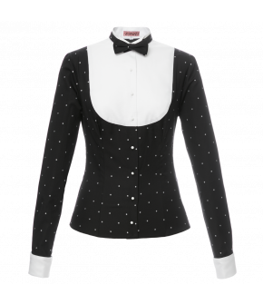 "Lena Hoschek Blouse ""Playmate"" in the colour black with white dots - Dollhouse - Autumn / Winter 2017/18"