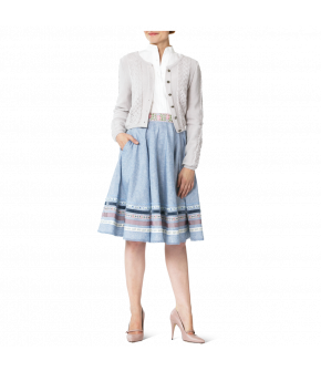 "Lena Hoschek Cardigan ""Aloisia"" in the colour Cream, with Dradi Skirt sky blue & Sonnberg Blouse by Lena Hoschek Tradition - Spring / Summer 2019"