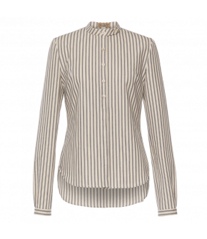 Simple striped cotton blouse with long sleeves and a highnecked standup collar. Featuring a lightly fitted shape and a rounded hem. Button-through front and button cuffs.