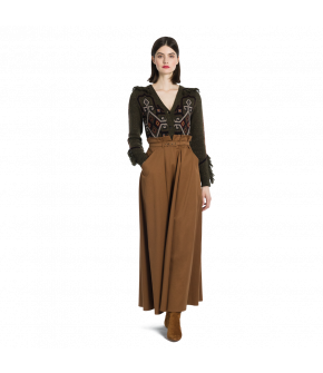"Belted maxi-skirt in tobacco brown by Lena Hoschek ""Dillinger Skirt tobacco"""
