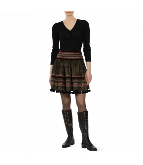 "Short green skirt ""Tara"" from Lena Hoschek with decorative ribbons - Artisan Partisan - Autumn/winter collection AW20/21"