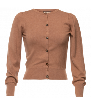 Fidelity Cardigan cinnamon in light brown by Lena Hoschek - AW21/22 autumn/winter collection - Biedermeier