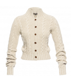"Cropped cardigan with standup collar in creme by Lena Hoschek ""Pippa"""