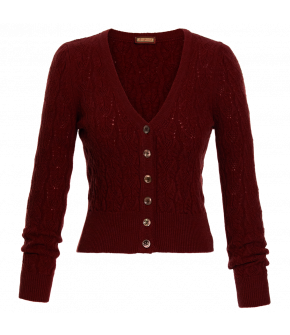 Tea Leaf Cardigan in indian red by Lena Hoschek for the Autumn Winter 2021 Collection Artisan Partisan.