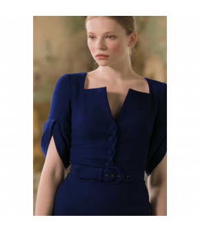 Ce Soir Dress saphir in dark blue by Lena Hoschek - SS21 summer collection - Antoinette's Garden