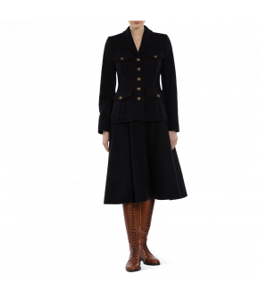 "Blue ""Partisan"" coat with front pockets and sleeve slits from Lena Hoschek - Artisan Partisan - Autumn/winter collection AW20/21"