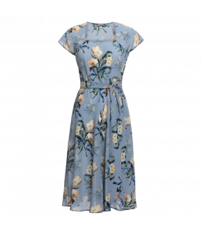 "Blue silk ""Destiny"" dress with waist belt and exclusive floral print from Lena Hoschek"