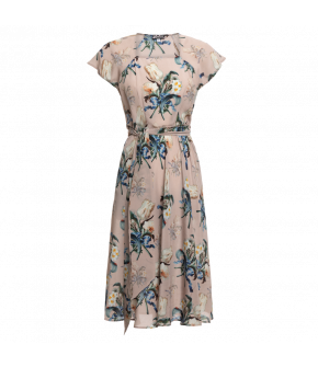 "Silk ""Destiny"" dress in pink with short sleeves and exclusive floral print from Lena Hoschek"