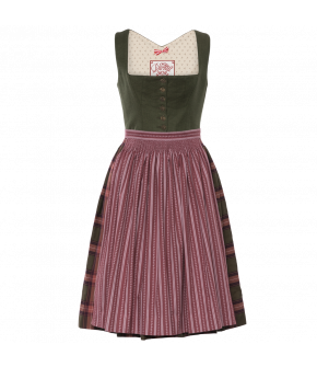 Simple squarenecked Dirndl with a Button-through linen top with piped edges, a checked gathered skirt and a handgathered cotton apron in contrasting printed cotton. The skirt has a hidden pocket at the front.