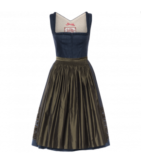 Printed cotton Dirndl with a sweet flower design and a square neckline trimmed with three rows of handcrafted heartshaped frills. Both the skirt and the contrasting silk apron are gathered by hand. Fastens at the front of the bodice with Hook-and-eye fast