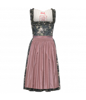 Dirndl with rose-print pattern in various shades of blue with a contrasting hand-gathered apron. Featuring pleated and heart-shaped frills along the neckline. The skirt is pleated and has a hidden pocket at the front. Concealed hook-and-eye fastening at t