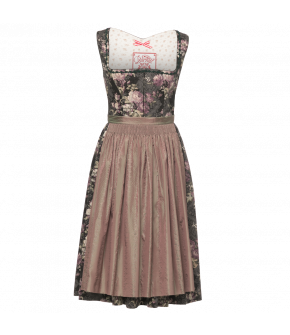 Cotton Dirndl with rose print pattern and a rounded neckline with decorative trim. Fastens at the front with a concealed hook-and-eye fastening. The skirt features a concealed pocket at the front. The apron is hand-gathered.