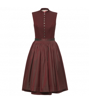 High-necked Dirndl with softly rounded stand-up collar. Featuring a button-through bodice and hand-gathered skirt and apron. Made from wool and silk, the skirt has a hidden pocket at the front.