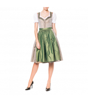Silk Lena Hoschek Dirndl with embellished sweetheart neckline. Decorative frills along the neckline and front placket. Skirt and apron are gathered by hand. Front hook fastening on the bodice and a concealed front pocket on the skirt.