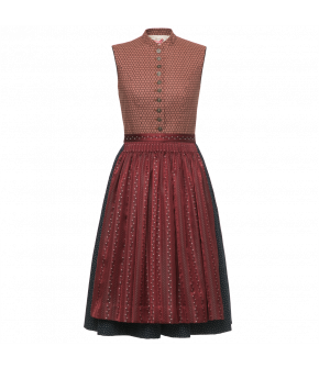 High-necked Dirndl with pleated skirt. The apron is gathered by hand. Featuring a button-through bodice and a concealed pocket at the front of the skirt.