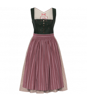 Dirndl with Button-through linen top featuring piped details and handembroidered flowers. Both the skirt and the apron are made from printed cotton and gathered by hand. The skirt has a hidden pocket on the front.