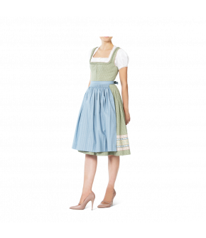 Green Dirndl with frilled neckline and light blue apron by Lena Hoschek Tradition