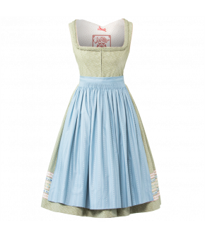 "Green Dirndl with frilled neckline and light blue apron by Lena Hoschek Tradition ""Lenz Dirndl"""