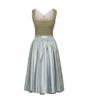 Lieselotte Dirndl in green with blue and green skirt - SS21 summer collection - Lena Hoschek Tradition